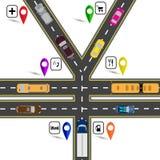 Jonction de route, un signe ressemblant à Yens, les yuans Manière au navigateur Image humoristique Illustration Image libre de droits