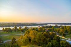 Jonction des rivières Sava et le Danube à Belgrade Images libres de droits