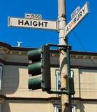 Jonction la Californie de plaque de rue de San Francisco Haight Ashbury Photos libres de droits