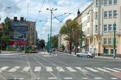 Jonction sur la rue de Dabrowskiego à Poznan, Pologne Photographie stock libre de droits