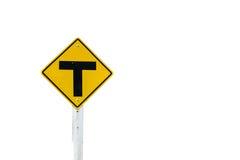Jonction trois d'isolat de route de signe sur le fond blanc Photo libre de droits