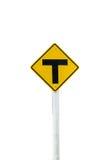 Jonction trois d'isolat de route de signe sur le fond blanc Image stock