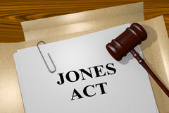 Jones Act concept. 3D illustration of JONES ACT title on legal document Royalty Free Stock Photos