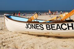 Jones Beach, Long Island. A lifeguard boat remains calm on Jones Beach in  Long Island, ready to spring into action for the next emergency Stock Photo