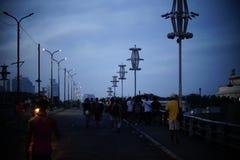 Jones broar på natten Arkivfoto
