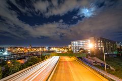 The Jones Falls Expressway at night, in Baltimore, Maryland.  stock images