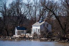 Jones Point Lighthouse along the Potomac River in Virginia royalty free stock photography