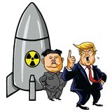Jong-Η.Ε της Kim με το πυρηνικό βλήμα ενάντια στο ατού Διάνυσμα απεικόνισης καρικατουρών κινούμενων σχεδίων 1 Μαΐου 2017 Στοκ φωτογραφία με δικαίωμα ελεύθερης χρήσης