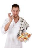 Jong aantrekkelijk chef-kok Kaukasisch mannetje Stock Foto