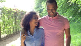Jong Afrikaans Amerikaans Paar die in Platteland lopen stock footage