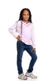 Jong Afrikaans kind met roze overhemd royalty-vrije stock afbeelding