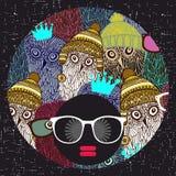 Jong afromeisje met donkere huid en creatieve tulband op haar hoofd stock illustratie