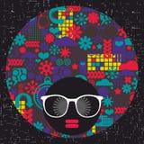 Jong afromeisje met donkere huid en creatieve tulband op haar hoofd vector illustratie