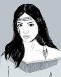 Jong Amerikaans Indisch vrouwenportret, hand getrokken schets, zwart haar Royalty-vrije Stock Foto