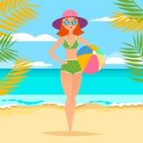 Jong atletisch meisje met bal op het strand royalty-vrije illustratie