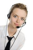 Jong blond mooi meisje met hoofdtelefoons. Royalty-vrije Stock Foto