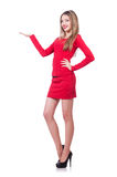 Jong blondemeisje in rode korte kledingsholding Stock Afbeeldingen