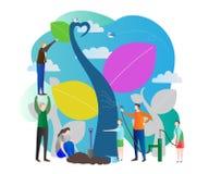 Jong boompje vectorillustratie met het voeden van aard, de zorg van de wereldecologie voor groene toekomst van de aarde Het werke Stock Fotografie
