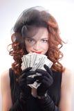Jong de dollarsgeld van de vrouwenholding Royalty-vrije Stock Afbeeldingen
