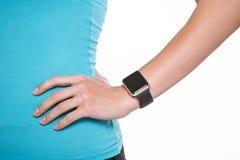 Jong de geschiktheids slim horloge van de vrouwen gezond levensstijl stock foto's