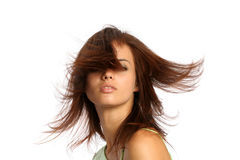 Jong donkerbruin meisje met hairdress in beweging Stock Afbeelding