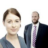Jong donkerbruin vrouw en bedrijfsman portret stock foto