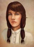 Jong donkerbruin vrouwenportret stock illustratie