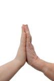 Jong en Oud - vrouwelijke handen wat betreft Royalty-vrije Stock Foto