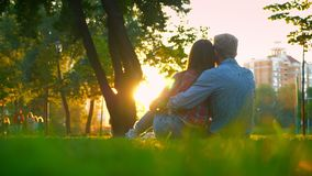 _jong familie mannetje en wijfje zitten op de gras in park dicht bij elkaar en koesteren teder, om*ringen met stock footage
