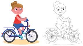 Jong geïsoleerd en fietsermeisje die kleuren vector illustratie