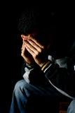 Jong gedeprimeerd mannetje Stock Foto's
