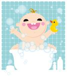 Jong geitje in bad