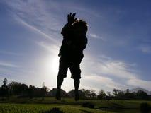 Jong geitje bij zonsondergang twee royalty-vrije stock fotografie