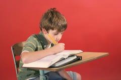 Jong geitje dat bij bureau bestudeert Stock Foto
