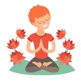 Jong geitje in de lotusbloempositie inzake de mat voor yoga Geïsoleerde illustratie op de witte achtergrond Royalty-vrije Stock Fotografie