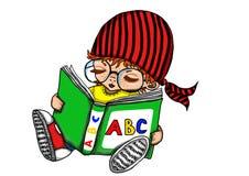 Jong geitje die een boek lezen Stock Fotografie