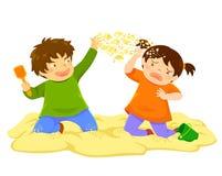 Jong geitje die Zand werpen stock illustratie