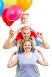 Jong geitje en ouders met ballons stock afbeelding