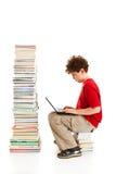 Jong geitje en stapel van boeken stock afbeeldingen