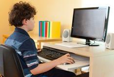Jong geitje gebruikend computer Stock Afbeeldingen