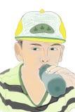 Jong geitje het hydrateren Royalty-vrije Stock Afbeelding