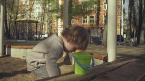 Jong geitje het spelen in een zandbak stock video