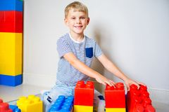 Jong geitje het spelen met bouwblokken Stock Afbeelding