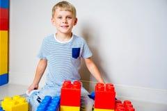 Jong geitje het spelen met bouwblokken Stock Fotografie