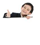 Jong geitje met banner Stock Afbeeldingen