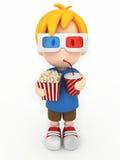 Jong geitje met 3d glas, popcorn en dranken Royalty-vrije Stock Afbeeldingen
