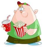 Jong geitje met popcorn en soda Stock Afbeeldingen