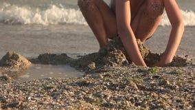 Jong geitje op de kust, langzaam-mo stock videobeelden