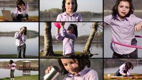 Jong geitje op vakantie, collage stock video