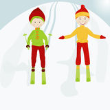 Jong geitje skiers1 Royalty-vrije Stock Foto's